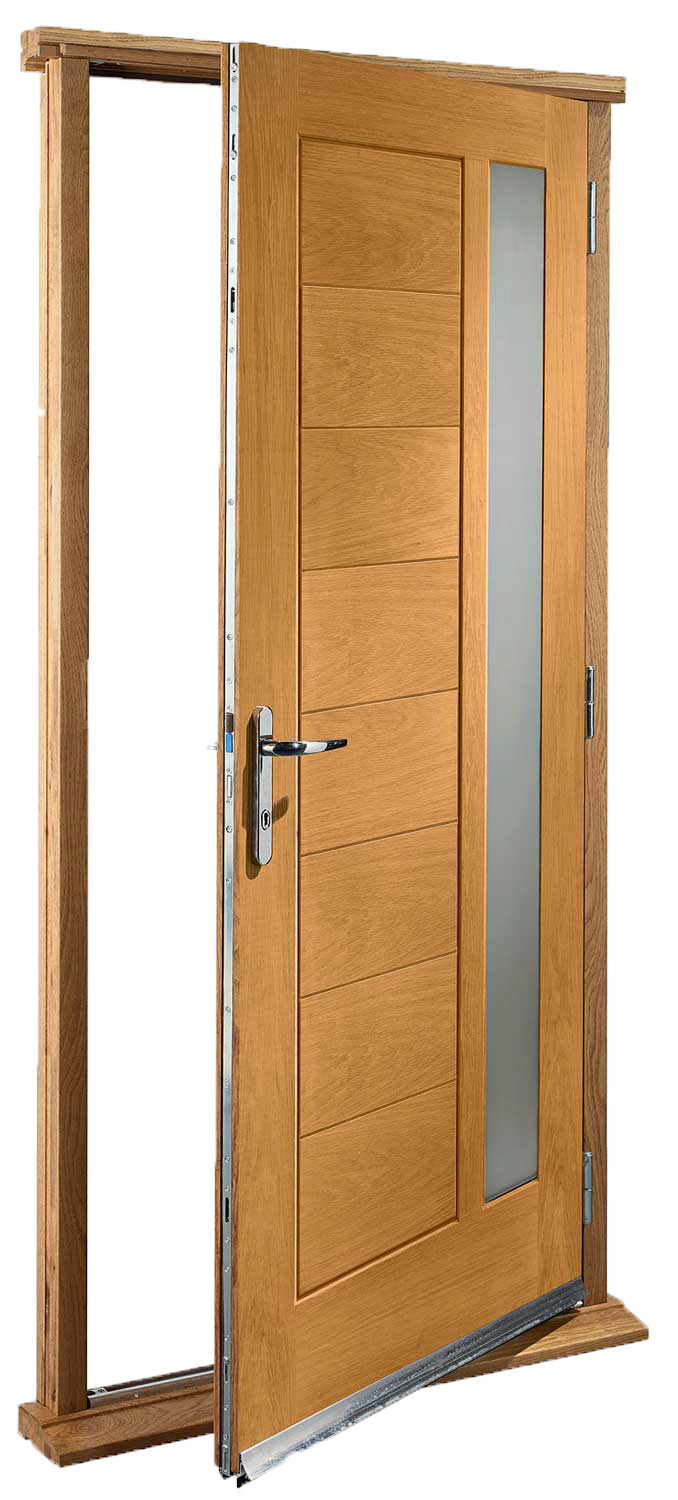 Modena glazed pre finished oak pre hung door set for Pre hung doors