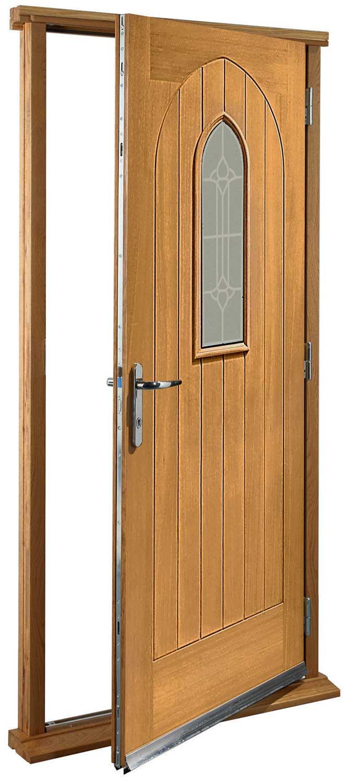 Turin Glazed Pre Finished Oak Pre Hung Door Set
