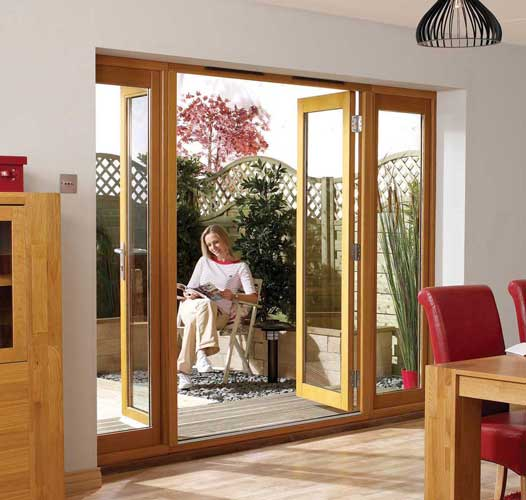 Exterior oak door for French doors with sidelights
