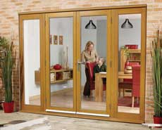 Configuration Of 1 Pair Of U0027NUVU Patio Doorsu0027 U0026 2 Sidelights In Oak    Including Frame And Ironmongery