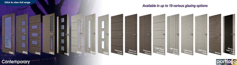 & Portfolio 4 Vertical Line Grey Veneer Match Flush Doors
