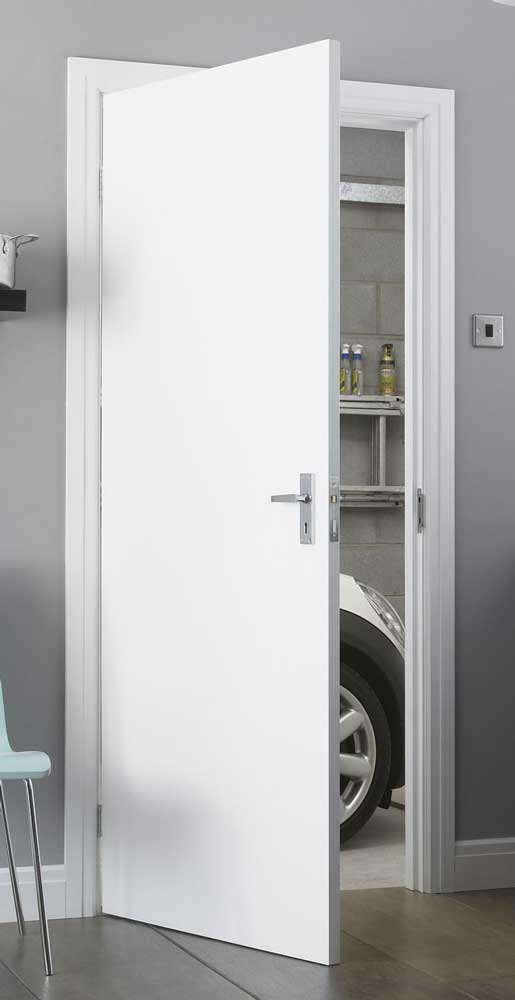 Primed white paint grade flush doors for Paint for doors interior