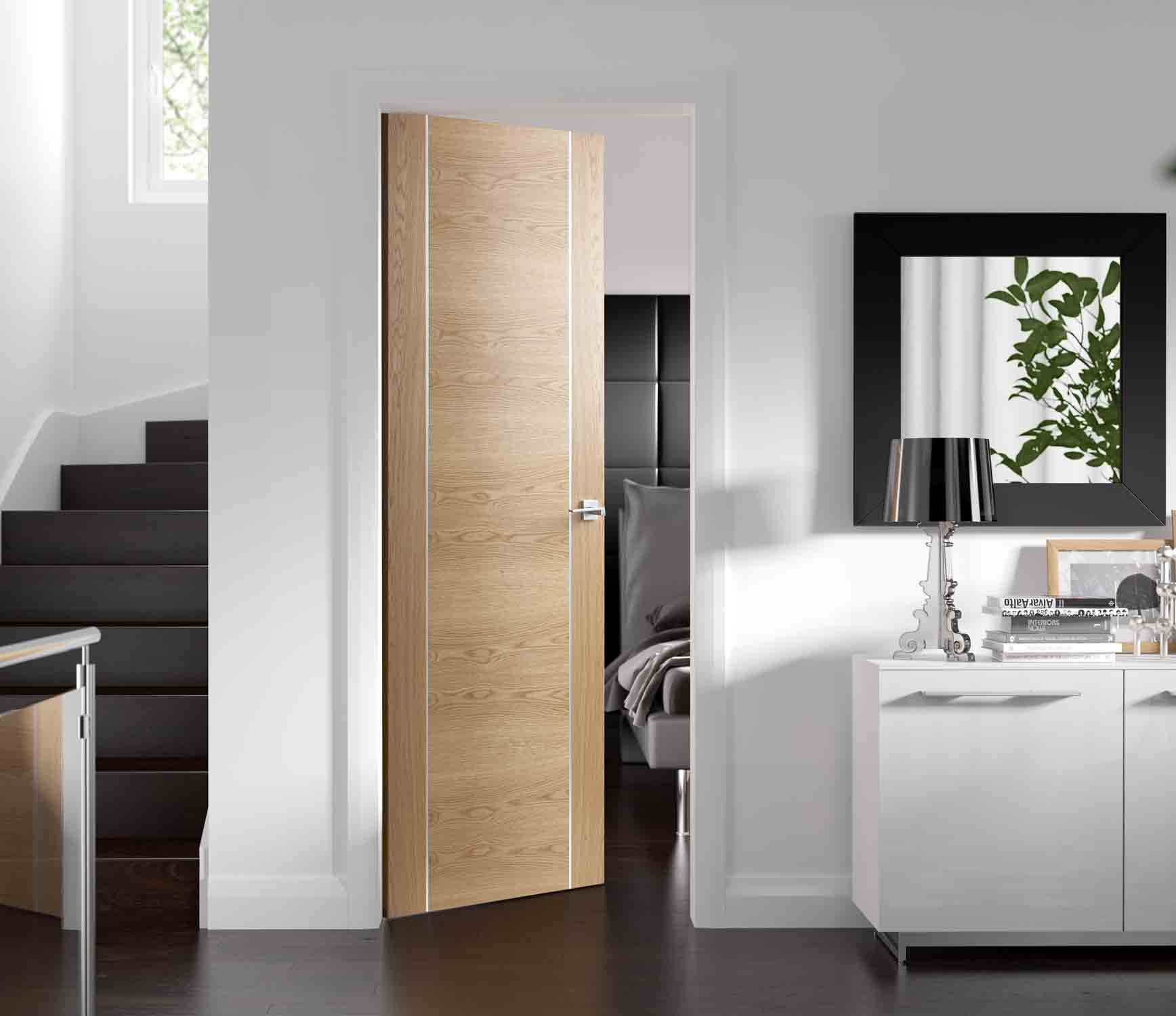 Forli oak inlaid pvc internal door for Solid core flush door price