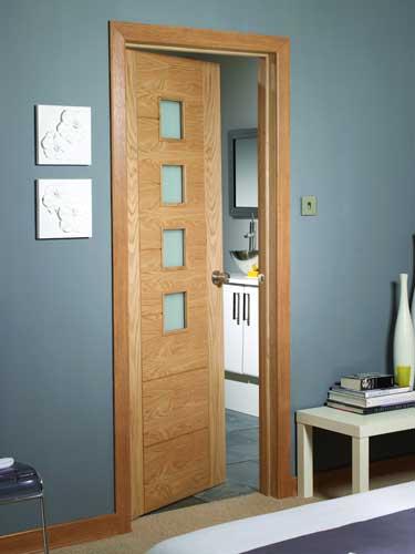 Oak Palermo Obscure Glass Doors