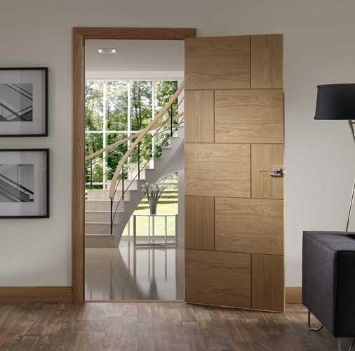 Rvenna Glass oak door Xl Joinery. u0027 & Internal Oak Contemporary Doors | Grooved Contemporary Oak Doors ...