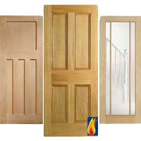flat panel oak fire doors