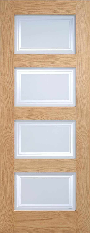 Oak 4 light glass internal door for Glass panel interior door