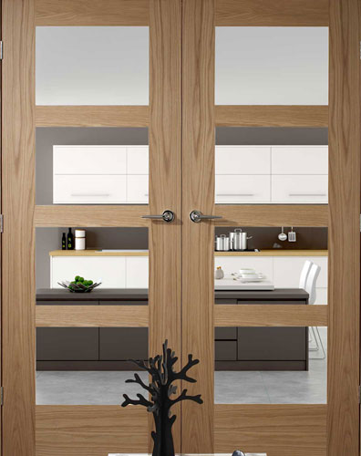 39 shaker contemporary 4 39 oak interior door pair - Contemporary glass doors interior ...