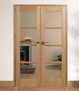 Internal door pairs oak hardwood interior pairs glazed doors w4 oslo pre finished oak glazed clear complete with frame planetlyrics Images