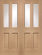 4 pane glass Oak Door Pair