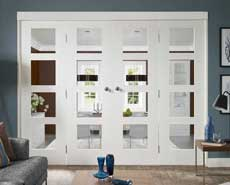 White freefold contemporary doors