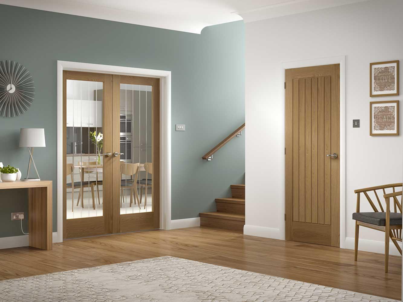 Suffolk Glazed Oak Interior Door Pair