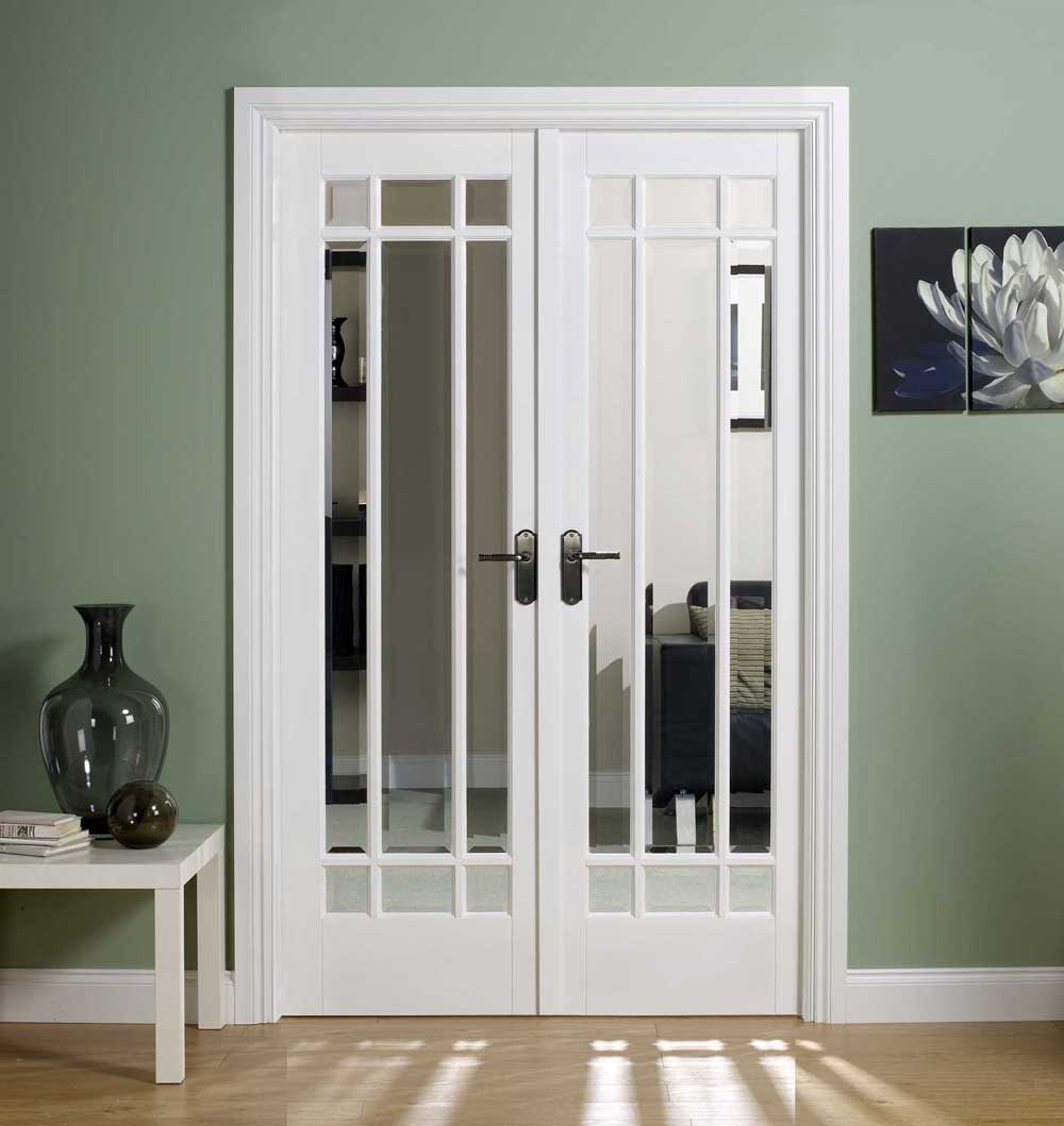 Internal door pairs oak hardwood interior pairs glazed doors w4 manhattan white primed glazed clear bevelled complete with frame eventelaan Images