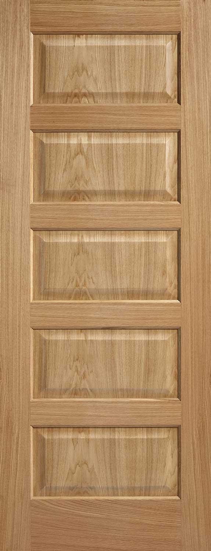 5 Panel Pre Finished Oak Internal Door