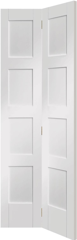 Contemporary 4 panel bifolding white internal doors for Large folding doors interior