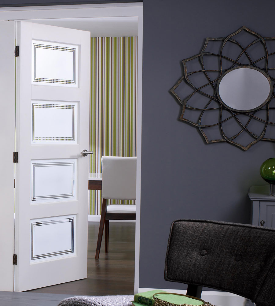 Contemporary 4 glazed internal white doors for Contemporary interior doors