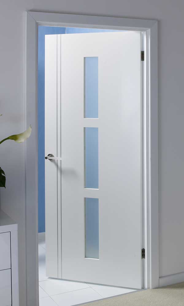 Sierra solid glazed pre finished white door - Contemporary glass doors interior ...