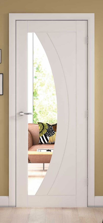 Salerno Solid Amp Glazed White Primed Interior Door