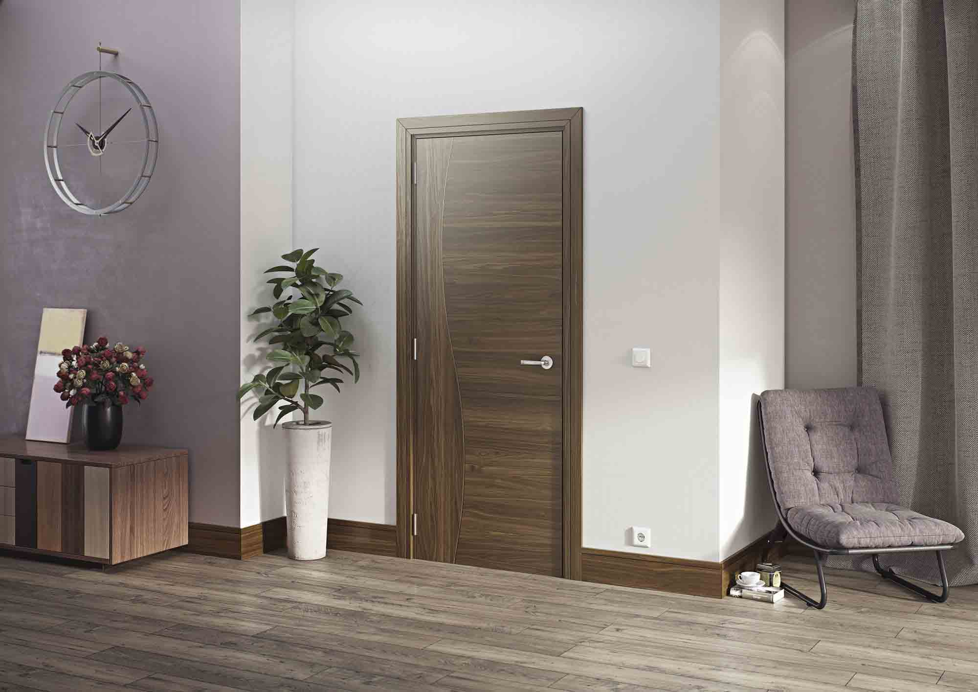 Cadiz Grooved Internal Pre Finished Walnut Doors