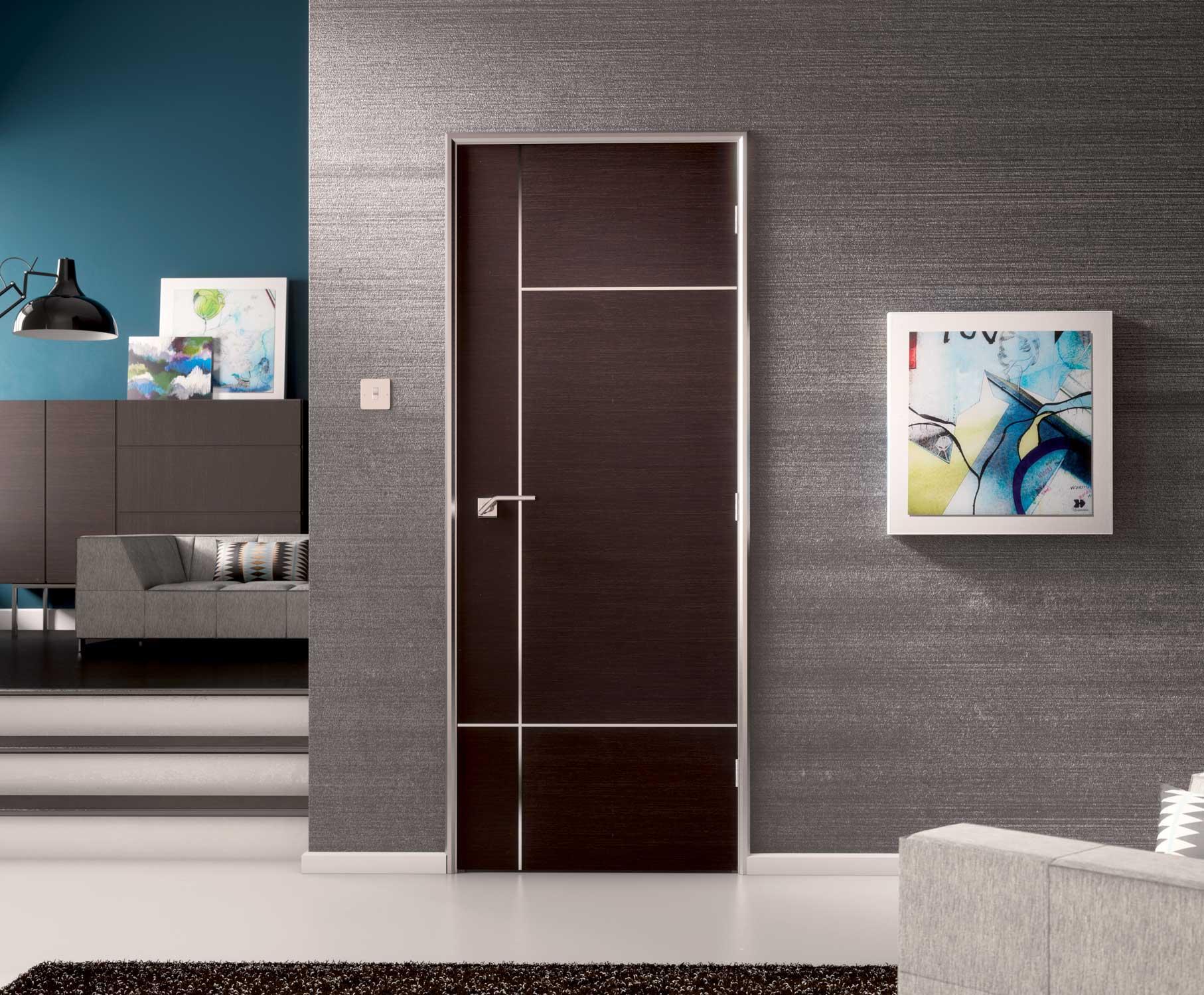 Caserta inlaid pvc internal pre finished walnut doors for Door of distinction