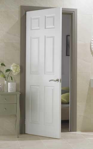 6 Panel Textured White Primed Door