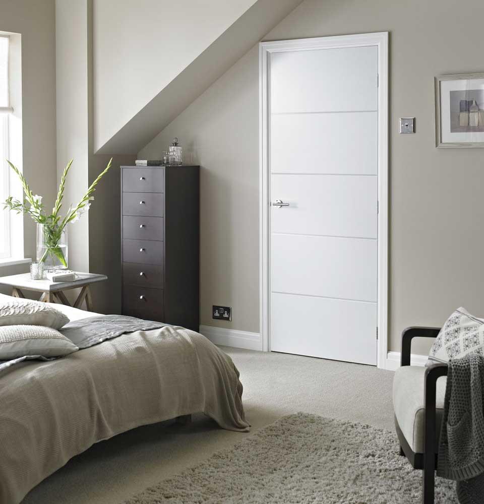Horizontal 4 lines smooth white primed door for Modern white interior