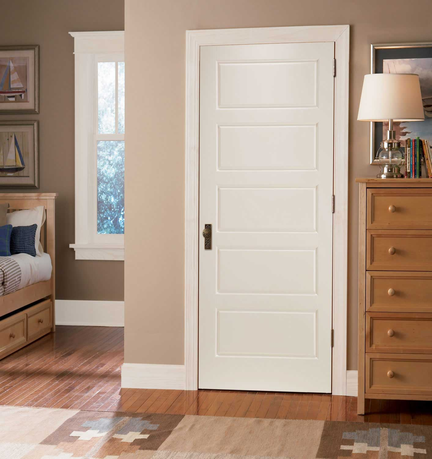 Horizontal 5 Panel Smooth White Primed Door