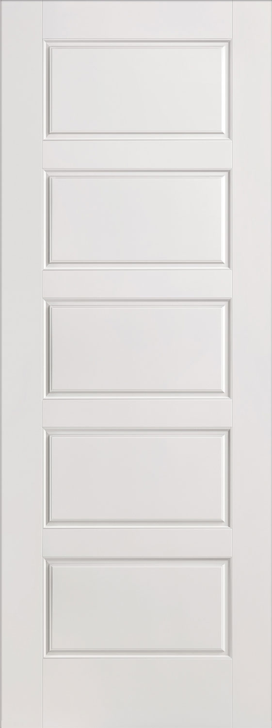 Horizontal 5 panel smooth white primed door for Moulded panel doors