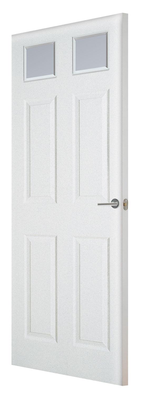 Glazed smooth white fire doors for Fire door design uk