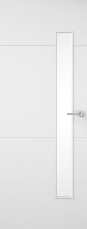 4 horizontal lines glazed smooth white primed door for Narrow internal doors