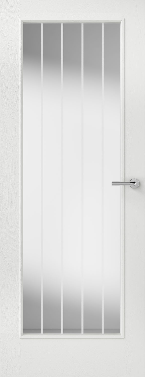 Vertical 5 Glazed Textured White Primed Door
