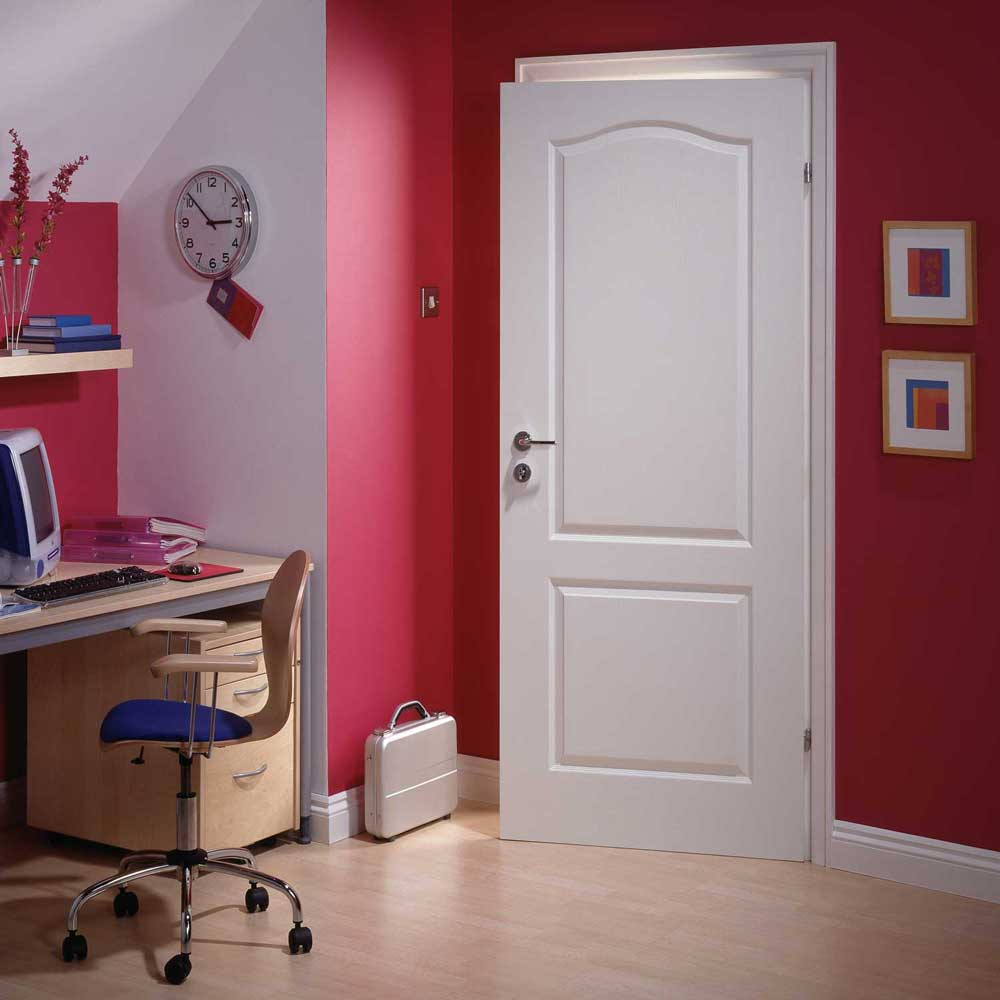 2 Panel Arched Textured White Primed Door