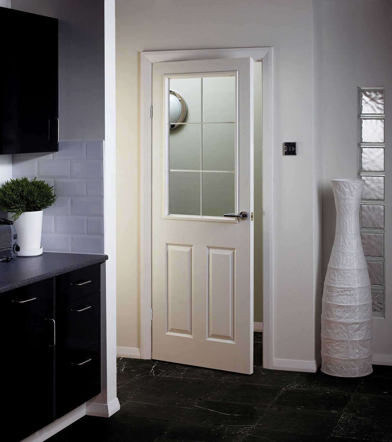 Manhattten Half Light Textured White Primed Door