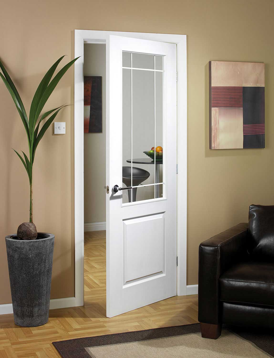 1500 #906E3B Manhattten Half Light Textured White Primed Door image Doors Half Glass 42031149