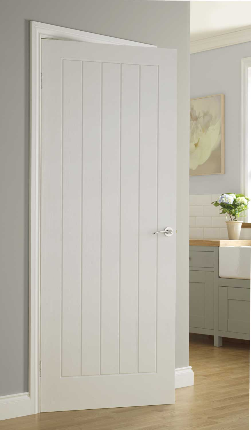 Vertical 5 Textured White Primed Door