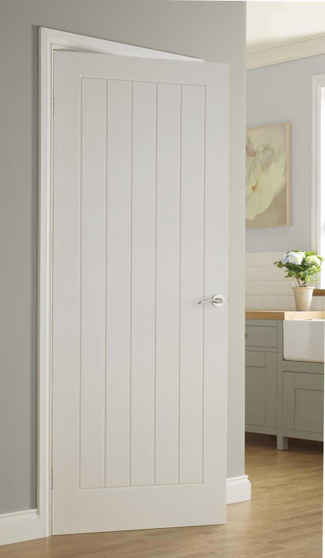 Vertical 5 textured white primed door for Door of distinction