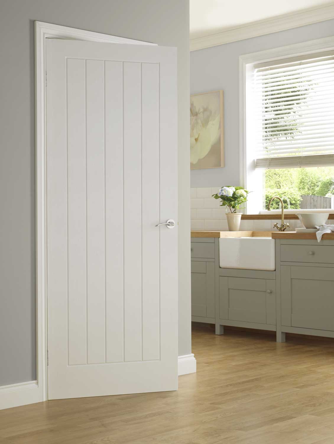 Vertical 5 Panel Textured White Primed Door