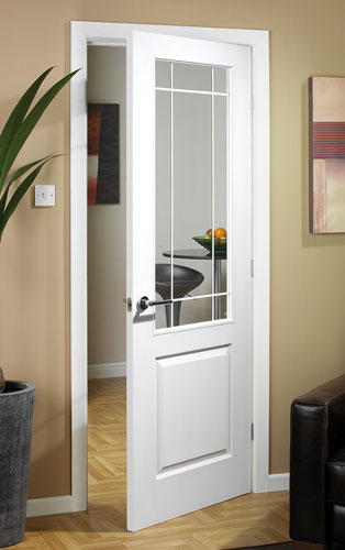 Manhattten half light textured white primed door for Half glass exterior door